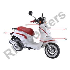 Razzo Milano - Beenschild/Voorkap - nr. 2 (wit/rood) (64304-JKC-9000 E)