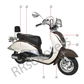 Turbho RG-50 / Voorkap (nr. 6) - Kleur: creme/bruin (HT50QT-29-01-01 LF-089/LF-100)
