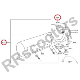 ZN125 - Uitlaat 125cc (nr. 420) + uitlaatpakking (nr. 427) - M125T-E-040400