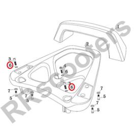 Razzo Lucca - Achterdrager  RING M8  (nr. 6) (RVS) - SET VAN 2 STUKS