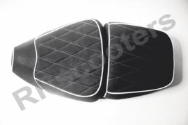 China LX - Zadel Duo (kleur: zwart met wit ruit stiksel)