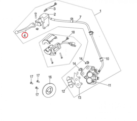 Neco Abruzzi 125cc. - Remhendel LINKS (nr. 4) - 43100-J23-0000