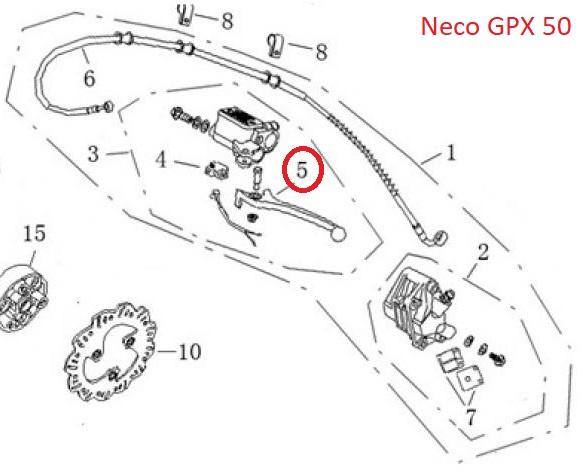 Neco GPX-50 (watergekoeld) -  Remhendel LINKS (nr. 5) - QBM-57111-0000