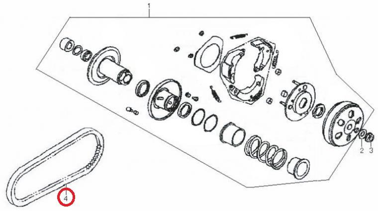 Neco Agira (125cc.) - Aandrijfriem / V-snaar (114001-152QMI-0100)