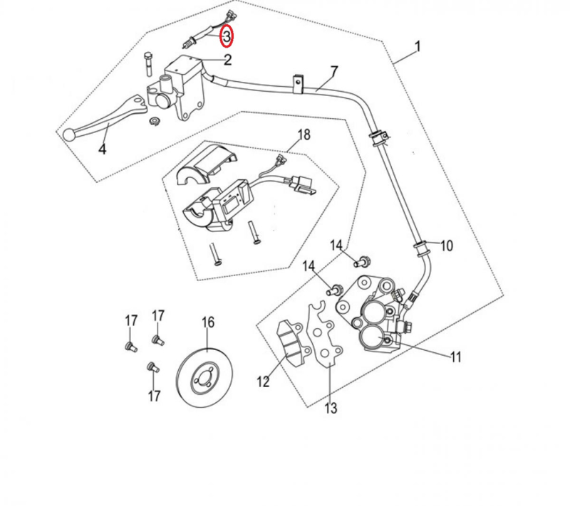 Neco Abruzzi - Remlichtschakelaar LINKS - nr. 3 - 37660-J23-0000