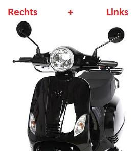 China LX - Spiegel-SET - MAT ZWART - Links + Rechts - (M8 schroefdraad) (VAK E-30)