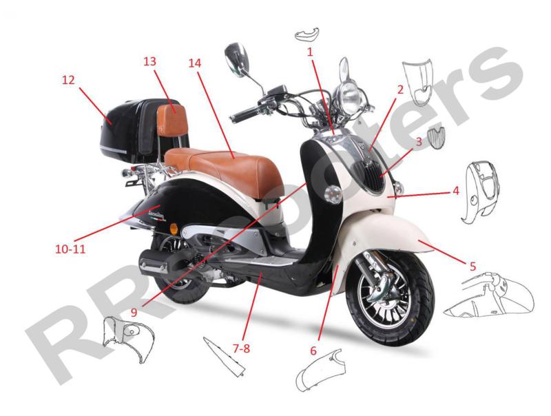 Neco Borsalino DUE 125cc - Side-skirt RECHTS - nr. 7 (64305-DGW2-9000BLAWHI)