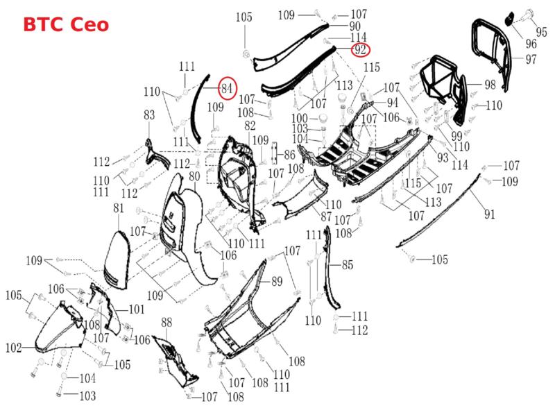 BTC CEO 50 - Sierlijst-set RECHTS (chroom) -  nr. 84  / 1.10.35.C121.01B96 en nr. 92  /  1.10.35.C121.01B52