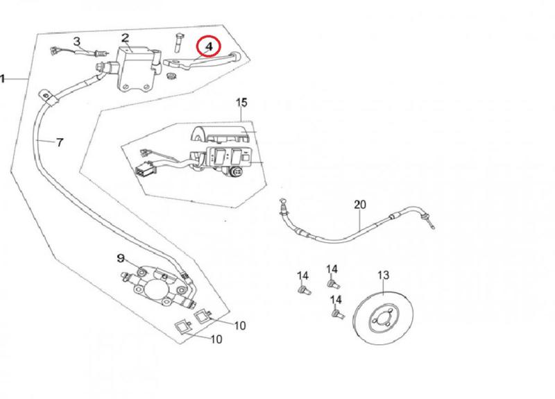 Neco Abruzzi 125cc. - Remhendel RECHTS (nr. 4) - 43100-J23-0000