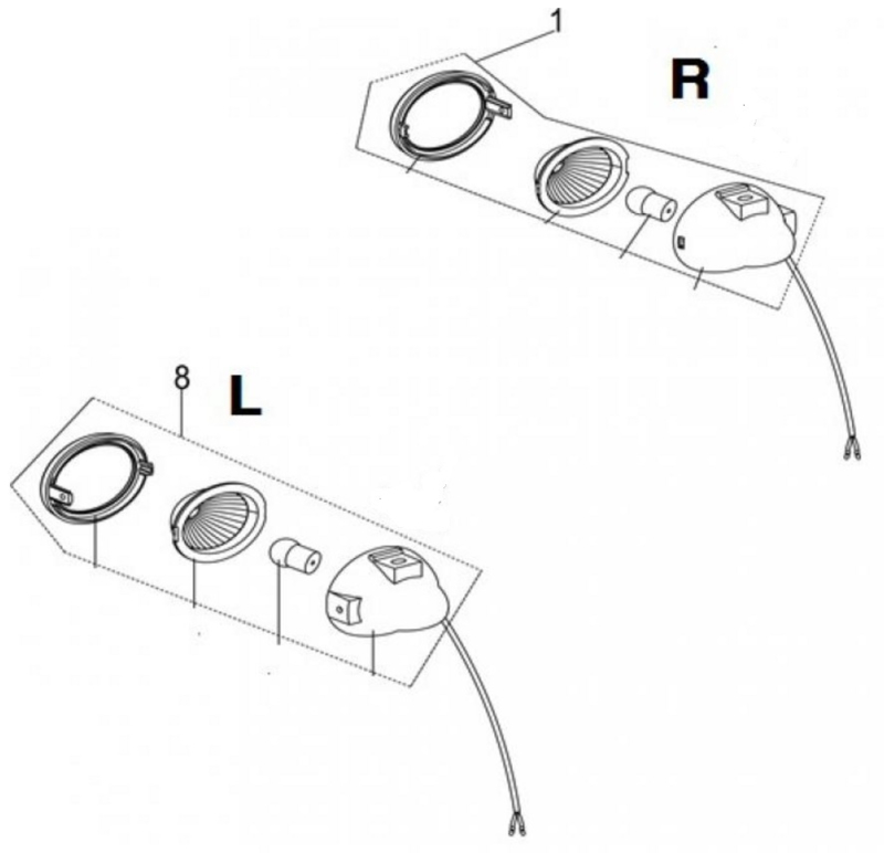 Neco Abruzzi - Richtingaanwijzer LINKS-VOOR (nr. 8) (chroom) - J08-51600-00