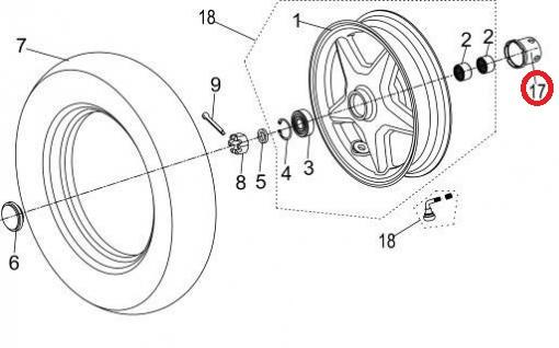 Neco Abruzzi (50cc.) - Magnetische aandrijving kilometerteller (nr. 17) - J08-51120-00