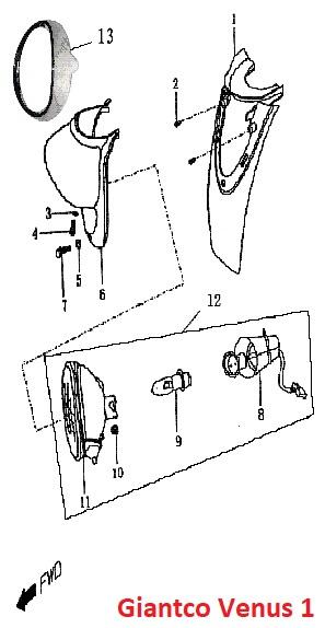 Giantco Venus 1 - Koplamp kap / Koplampbehuizing - nr. 6 - 50QT-A-050102
