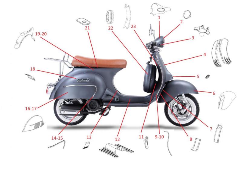Neco Abruzzi - Chromen strip LINKS VOOR (nr. 9) - J08-X1100-00