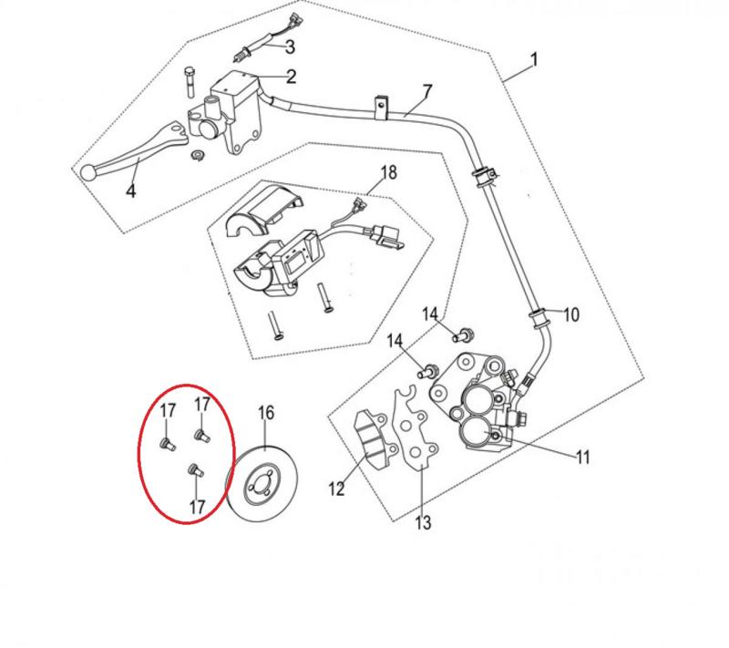 Neco Abruzzi 125cc. - Remschijfbouten (3 stuks) (nr. 17) - 93601-08025-02