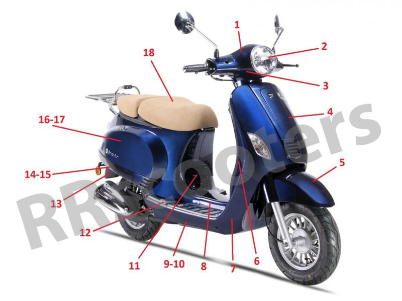 Neco Azzuro GP - Voor-spatbord (nr. 5) - 61100-ALA6-9000DABLUE (Dark Blue)