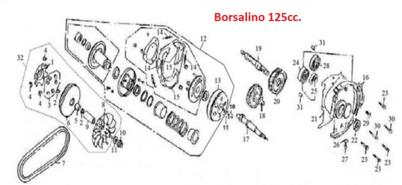 Neco Borsalino 125cc - AANDRIJFRIEM 125/10 - (nr.7) -