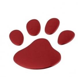 3D Chrome Hondenpoot afdruk  1st.  Rood