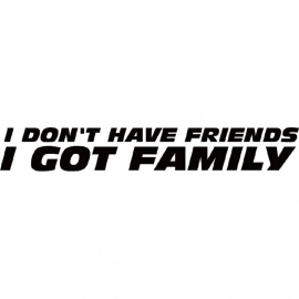 I Don't Have friends I Got Family Paul Walker Tribute Sticker