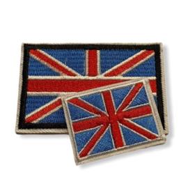 Great Britain Vlag Badge Strijk Patch |  Set 2st.