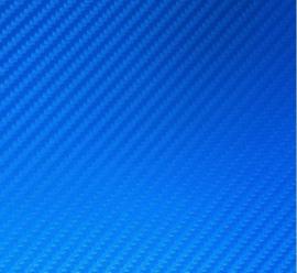 Restant : 27 x 70 cm 3D Carbon Folie Blauw Metallic