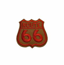 Route 66 Embleem Strijk Patch Met Wings | Bruin - Rood