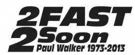 2 Fast 2 Soon Paul Walker Sticker