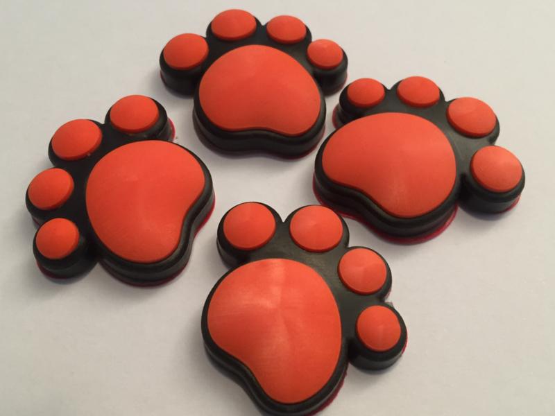 3D Honden / Katten poot Deurbeschermer Oranje   Set 4st.