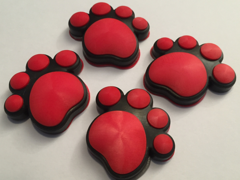 3D Honden / Katten poot Deurbeschermer Rood | Set 4st.