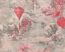 AS Création behang Bloemen rood 37466-2