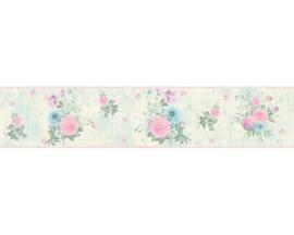 blauw creme bloemen behangrand 35876-3