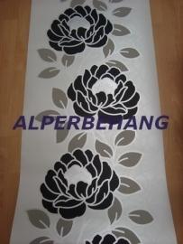 modern bloemen behang zwart wit zilver 559