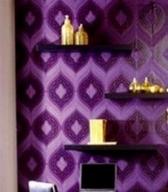 barok behang vinyl paars 6842-7