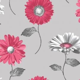 rood bloemen behang 111504