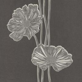Lacantara 3 Bloemen Vlies grau grijs glitter  13228-40 P+S