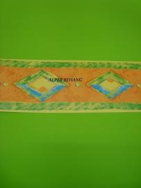 oranje geel blauw behangrand 58