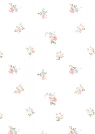 dollhouse 68813 blauw roze wit bloem stijlvol behang