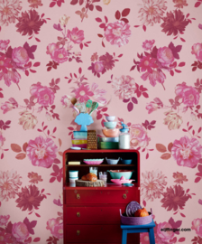 Eijffinger Rice 2 Wallpower 383613 Vintage Flowers Pink