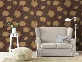 bloemen vlies behang goud bruin x98