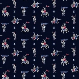 Esta for Kids Hearts & Heroes Navy 184916 Gordijnstof Knights Navy