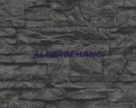 steen 3d antraciet zwart behang xx585