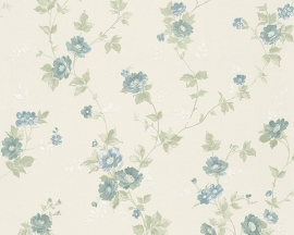 Behang Bloemen wit blauw AS Romantica 30428-2