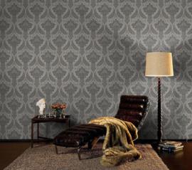 zwart grijs barok behang rasch 208627