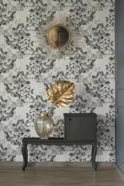 Behang bloemen glitter zwart wit grijs 33864-4