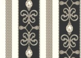 grijs zwart strepen diamanten klassiek hermitage behang 891334