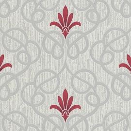 barok behang zilver rood glinster 9738-06