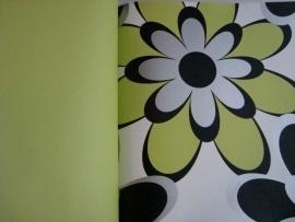 bloemen behang groen zwart wit 113