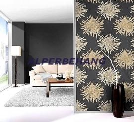 bloemen behang zwart bruin grijs37