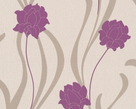 as creation mila 938674 beige violet modern bloemen behang