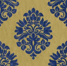behang barok blauw goud 545722