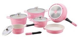 10 delige luxe roze keramische pannenset van Royalty Line Switzerland